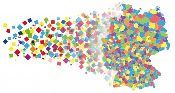 bunte Quadrate, die rechts eine Deutschlandkarte bilden