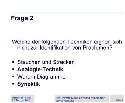 Das Bild zeigt einen Multiple-Choice-Test zur Überprüfung des Gelernten.