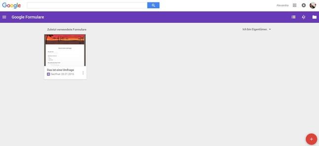 Screenshot Google Formular