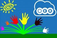 Logo für OER mit bunten Händen