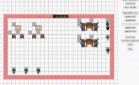 Das Bild zeigt einen Ausschnitt aus dem Mapmakertool von gather.town. Auf der rechten Seite ist eine Menüleiste und auf dem restlichen Bild sieht man den Bearbeitungsbildschirm. Auf großen Pixeln sind bereits ein paar Einrichtungsgegenstände für einen neuen virtuellen Raum angelegt, wie zum Beispiel Tische und Stühle, außerdem Pflanzen zur Deko.