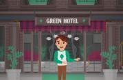 """Das Bild zeigt eine Comicperson vor einem Gebäudeeingang, über dem ein Schild mit der Aufschrift """"Green Hotel"""" prangt."""