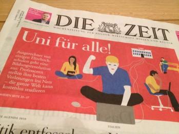 """Foto der Titelseite der Zeitschrift """"Die Zeit"""" mit Schriftzug """"Uni für alle!"""""""