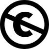 """Das Bild zeigt das Symbol für eine offene Lizenz mittels eines durchgestrichenen """"C""""."""