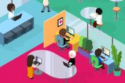 Gezeichnete offene Bürolandschaft mit Menschen