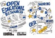 Das Bild zeigt ein künstlerisch gestaltetes Plakat zum Thema OER.