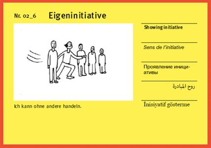 """Das Bild zeigt eine Kompetenzkarte zum Beispiel """"Eigeninitiative""""."""