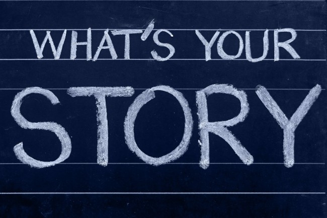 """Tafel mit Text """"What's your Story"""""""