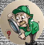 Das Bild zeigt einen Comicdetektiv, der durch eine große Lupe ein Fragezeichen betrachtet.
