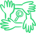 Das Bild zeigt vier gezeichnete Hände im Kreis, in deren Mitte eine Lupe abgebildet ist.
