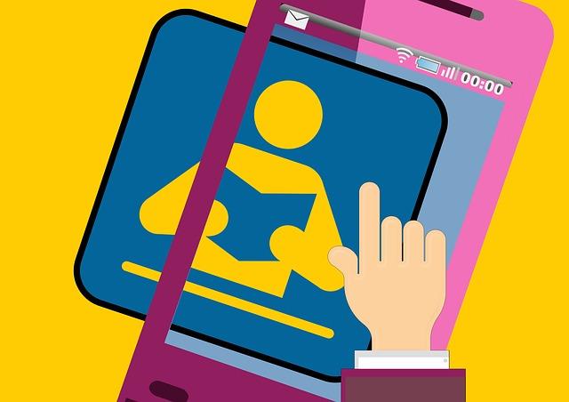 Eine bunte Illustration auf der ein rosa Handy zu sehen ist und eine Hand berührt das Display
