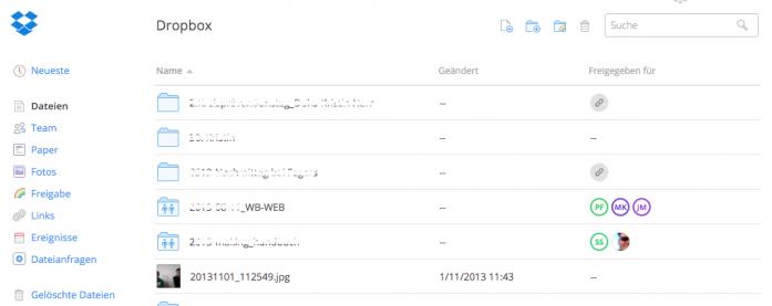 Screenshot Dropbox (Ansicht im Browser)