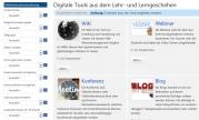 Das Bild  zeigt einen Screenshot der Website von Tool-O-Search. Am linken Bildrand sieht man einen Ausschnitt der zu wählenden Filter, auf der rechten Bildseite sind die digitalen Tools Wiki, Webinar, Konferenz und Blog mit jeweils einem kleinen Bildchen aufgelistet.