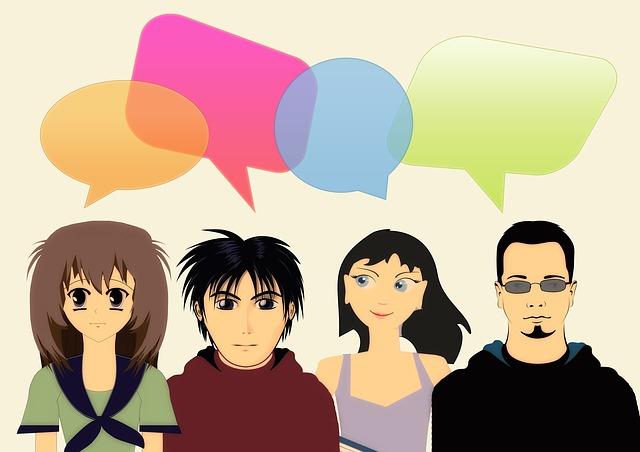 Vier Personen mit Sprechblasen