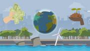 Die Grafik zeigt eine künstliche Küstenlandschaft mit Windrad als Symbol für Nachhaltigkeit.