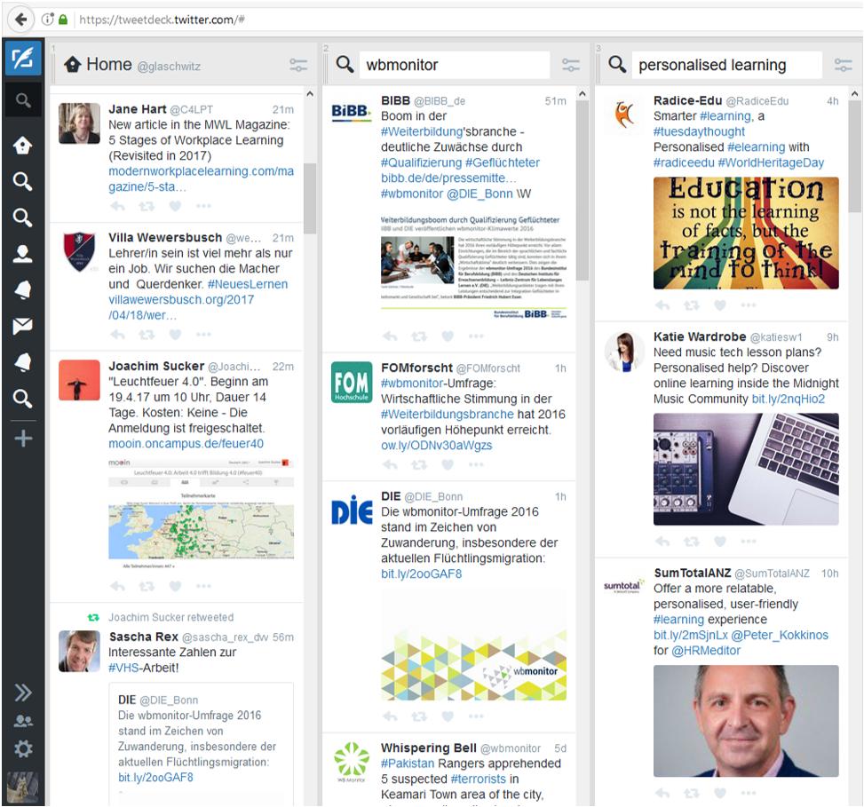 Das Twitter-Monitor-Service zeigt eine Übersicht der neuesten Beiträge auf Twitter.