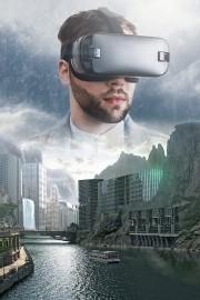 Das Bild zeigt einen mann, der eine VR-Brille trägt.