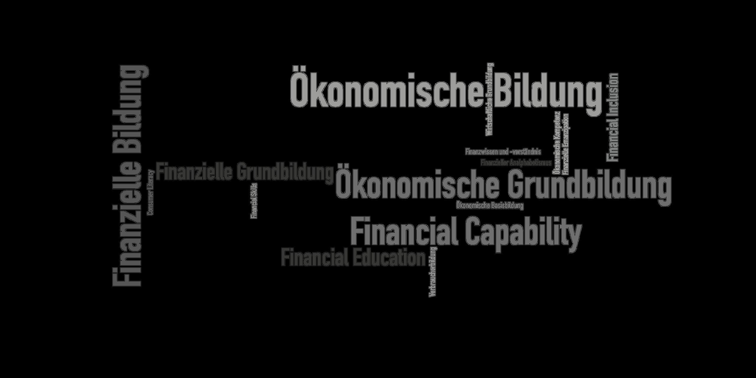 """Eine Wortwolke mit allen Synonymen zu dem Begriff """"Finanzielle Grundbildung""""."""