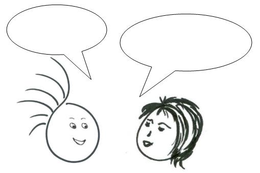 gezeichnete Männchen mit Sprechblasen