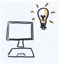 Das Bild zeigt einen gezeichneten Computer mit einer Glühlampe darüber.