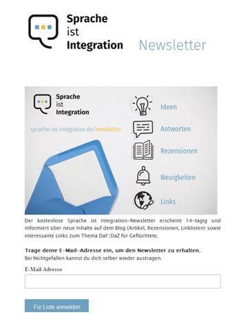 """Das Bild ist der Link zur Anmeldung des Newsletters """"Sprache ist Integration""""."""