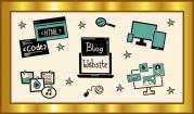"""Das Bild zeigt einen goldenen Rahmen, in dem sich verschiedene Piktogramme wie eine Lupe, ein Bildschirm, ein Internetsymbol oder ein HTML-Code um die Begriffe """"Blogs und Websites"""" herumgruppieren."""