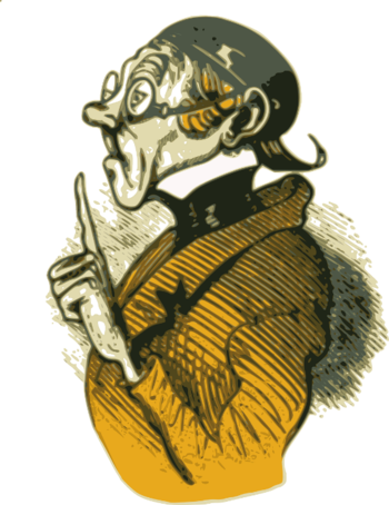 Eine Illustration eines strengen Lehrers mit erhobenem Zeigefinger