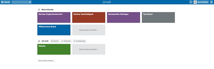 Screenshot einer Übersichtsseite in Trello mit verschiedenen Boards.