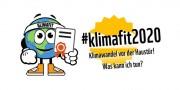 Das Bild zeigt das Logo der Aktion #klimafit2020. Klimawandel vor der Haustür! Was kann ich tun?