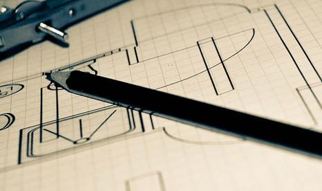gezeichneter Bauplan, Stift