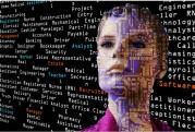 Das Bild zeigt die Silhoutte eines Kopfes vor einer Leinwand voller Programmiersprachenfachbegriffe.