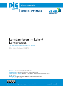 Titelblatt des pdf zu Lernbarrieren