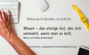 Das Bild zeigt die Ankündigung des Webinars sowie die E-Mailadresse zur Anmeldung.