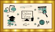 """Das Bild zeigt einen goldenen Rahmen, in dem sich verschiedene Piktogramme wie eine Suchleiste, eine Weltkurgel, ein Internetsymbol, ein WLAN-Symbol oder Smartphones um den Begriff """"Onlinekurse"""" herumgruppieren."""