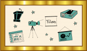 """Das Bild zeigt einen goldenen Rahmen, in dem sich verschiedene Piktogramme wie ein Rednerpult, ein Beamer und eine Projektorwand um den Begriff """"Folien"""" herumgruppieren."""