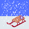 Schlitten im Schnee mit Ziffer 5