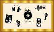 Das Bild zeigt einen goldenen Rahmen, im dem verschiedene Audiopiktogramme wie Mikrophon, Kopfhörer, Lautsprecher, Schallplatte etc. um das Wort Audio-Podcast herumgruppiert sind.