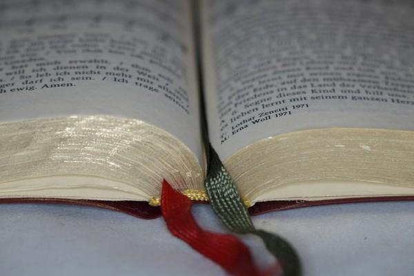 Aufgeschlagenes Buch mit Lesezeichen