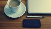 Foto Kaffeetasse, Notebook, Kugelschreiber
