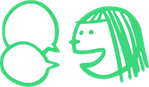 Das Bild zeigt einen gezeichneten sprechenden Kopf mit zwei leeren Sprechblasen davor.