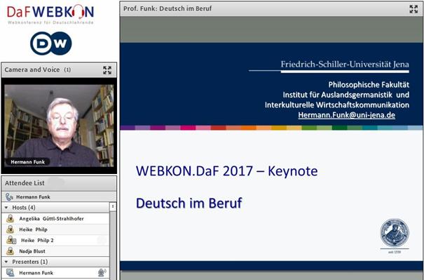 Der Screenshot zeigt einen Moment der DaF WEBKON 2017 mit Herrn Funk.