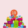 Haufen Geschenkpakete mit Ziffer 19