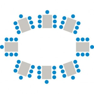 Teilnehmer sitzen in Gruppen im Tische, die im Kreis im Raum stehen.