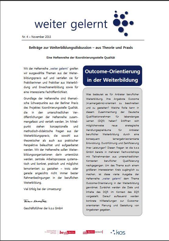 Cover des Hefts Outcome-Orientierung in der Weiterbildung