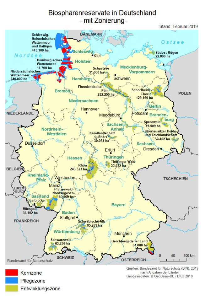 Die Deutschlandkarte gibt einen Überblick über die Biosphärenreservate.