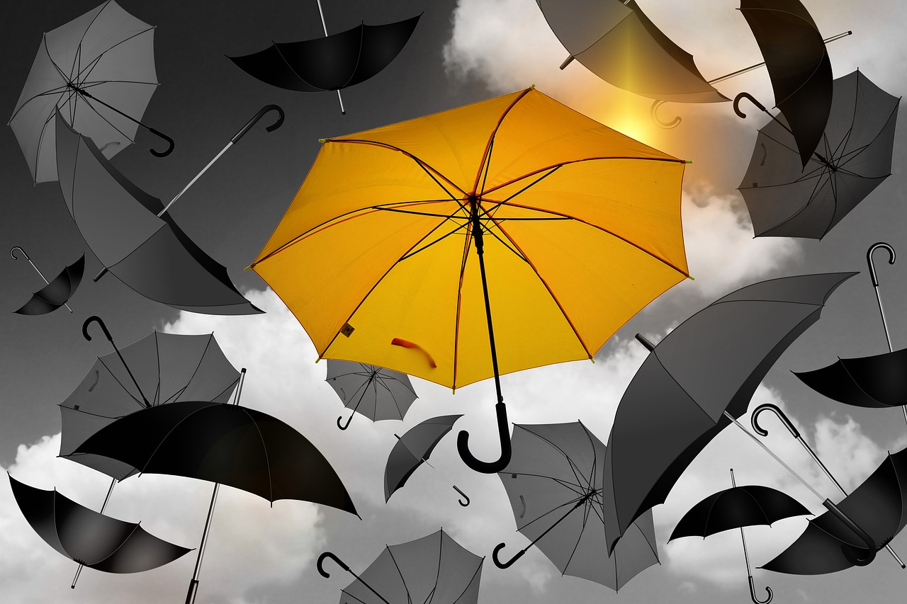 Das Bild zeigt fliegende Schirme.