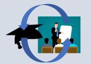 Das Bild zeigt eine angedeutete Unterrichtssituation mit einem Lehrer an einem Flipchart vor drei Lernern. Im Vordergrund ist ein Doktorhut abgebildet, der mit Pfeilen mit der Lehrsituation verbunden ist.